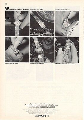 1964 Kingmatic Movado Womens Diamond Bracelet Watch  PRINT AD