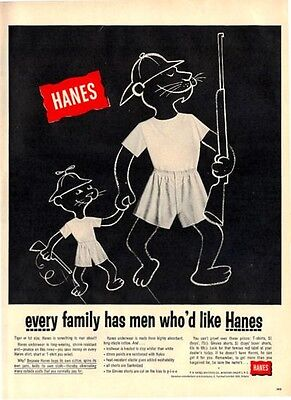 1955 Hanes Men's Givvies Shorts CuteTigers Hunting Theme Room Decor  PRINT AD