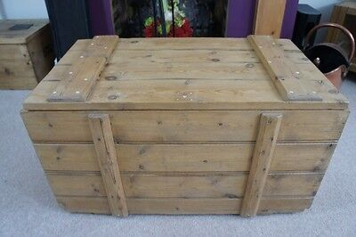 Vintage  pine blanket box/storage chest, robust, well made, refurbished, clean