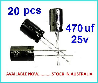 470uF 25V Electrolytic Capacitor Radial Lead 105°c - 20 pieces - (Part# RC009)