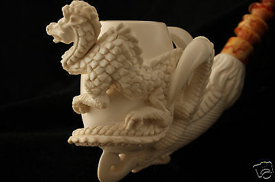 Dragon Egg in an Eagle´s Claw Hand Made  Block Meerschaum Pipe in fit CASE 4820