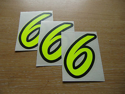 95mm high stickers Black /& Chrome number 3 decals set of 3