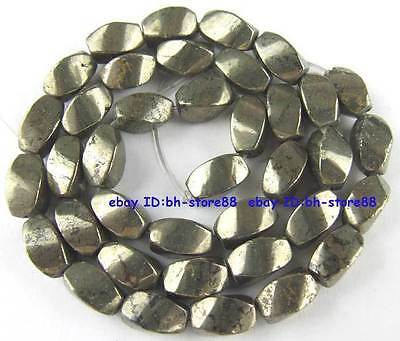 100% Natural 6x10mm Tetrahedral Twist Pyrite Beads 15''