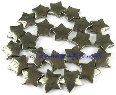 100% Natural 20mm Star Flat Pyrite Loose Beads 15''