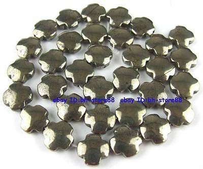 100% Natural 12mm Cross Flower Pyrite Loose Beads 15''