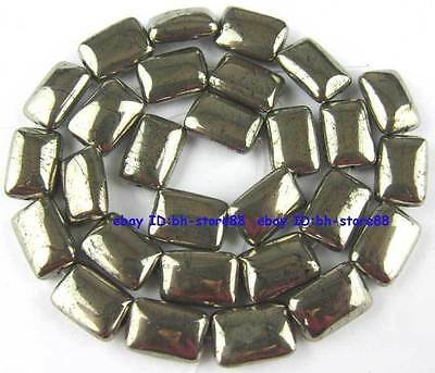 100% Natural 10x14mm Oblong Flat Pyrite Loose Beads 15''