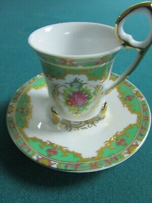 TIGER YEDI Inc coffee cup and saucer made in Japan, green and gold[4 ...