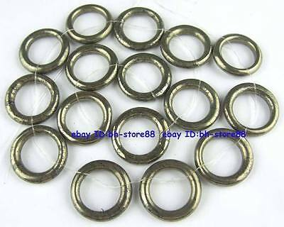 100% Natural 23mm Ring Pyrite Loose Beads 15''
