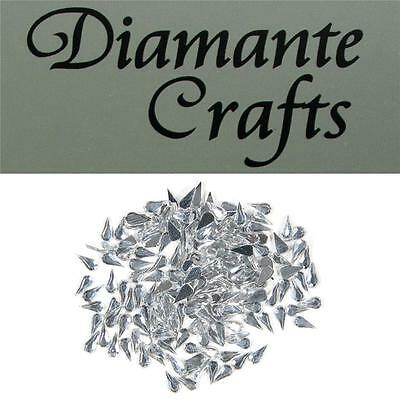 200 x 4mm Clear Diamante Loose Teardrop Flat Back Rhinestone Craft Embellishment