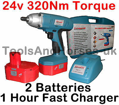 """24v Cordless Impact Wrench Gun 1/2"""" Drive With 2 Twin Batteries & 1H Charger 24v"""