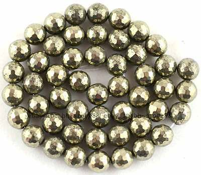 100% Natural 8mm Round 128 Faceted Pyrite Beads 15''