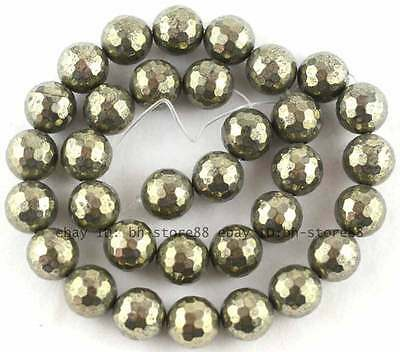 100% Natural 12mm Round 128 Faceted Pyrite Beads 15''