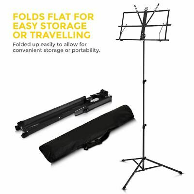 Black Adjustable Tripod Music Stand Sheet Holder Base Height violin guitar piano