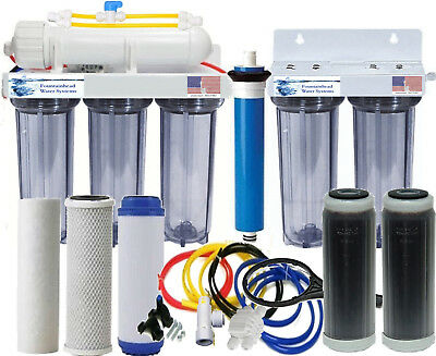 RO/DI 150GPD Reverse Osmosis Dual DI Aquarium/Reef System. Clear. Manual Flush