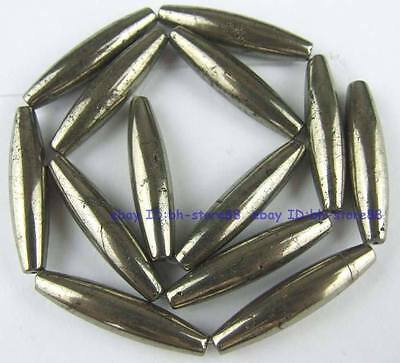 100% Natura 7x30mm Rice Pyrite Loose Beads 15''