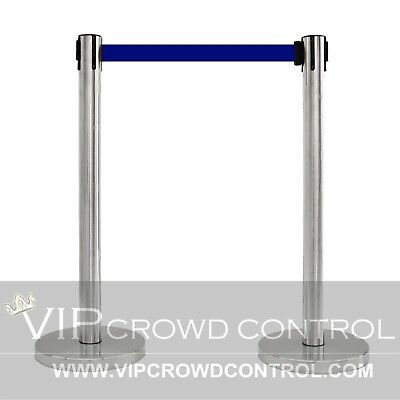 "2 Pcs Stanchion Set, 36"" Satin S.s. With 12"" Flat Base And 78"" Blue Belt"