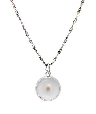 Sterling Silver Christian Mustard Seed Faith Charm With Thin Singapore Necklace