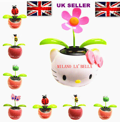 1 SOLAR POWERED SWING DANCING MOTION FLOWER DESK CAR ORNAMENT GIFT PINK QUALITY