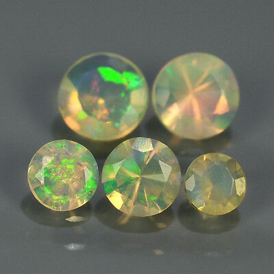"""Natural 5pcs 0.73ct Lot Round Red-Orange & Rainbow """"Play Of Colour"""" OPAL #295223"""