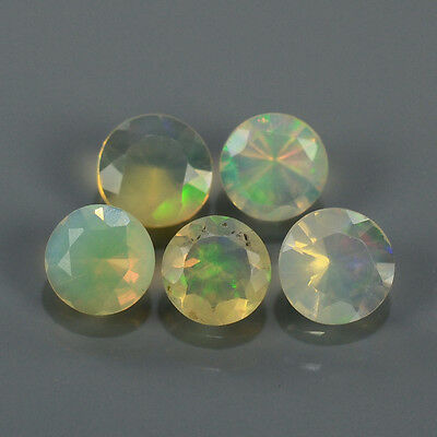 """Natural 5pcs 0.75ct Lot Round Red-Orange & Rainbow """"Play Of Colour"""" OPAL #295220"""