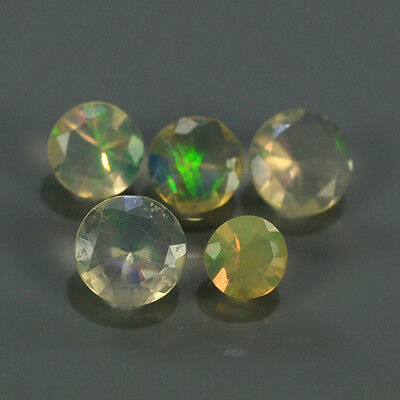 """Natural 5pcs 0.51ct Lot Round Red-Orange & Rainbow """"Play Of Colour"""" OPAL #295218"""