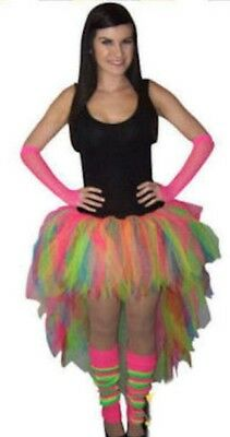 Neon Multicolour Tutu Skirt Long Back Leg Warmers Gloves All Size 80S Bride Hen