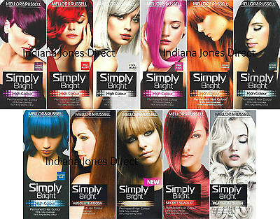 Mellor & Russell Simply Bright Hair Colour Purple Red Silver Pink Orange Blue