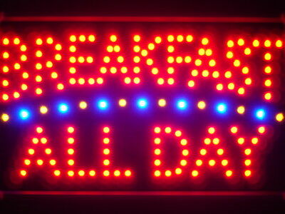 led139-r Breakfast All Day Led Neon Sign WhiteBoard
