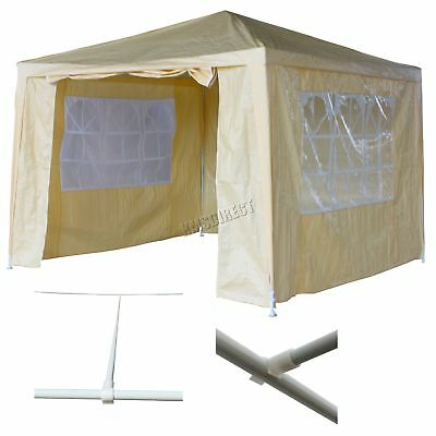 Waterproof Beige 3m x 3m Outdoor Garden Gazebo Party Tent Marquee Awning Canopy