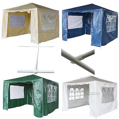 Waterproof 3m x 3m PE Outdoor Garden Gazebo Party Tent Marquee Awning Canopy New