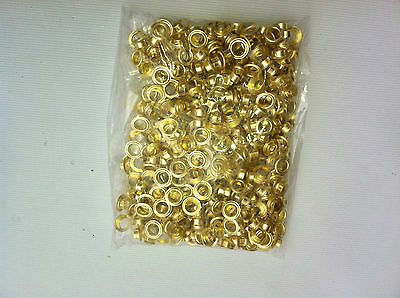 1000  Grommets Brass  Metal # 0 1/4 Eyelet  with washers for  Hand Press