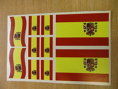 SPANISH FLAG STICKERS SHEET SIZE 21cm x 14cm - SPAIN DECALS