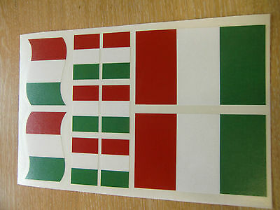 ITALIAN FLAG STICKERS SHEET SIZE 21cm x 14cm - ITALY DECALS