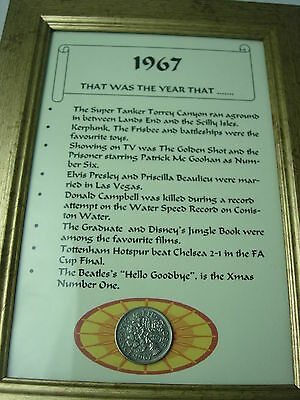 """A6 Framed COIN """"That was the year"""" ALL YEARS Unique vintage BIRTHDAY gift"""
