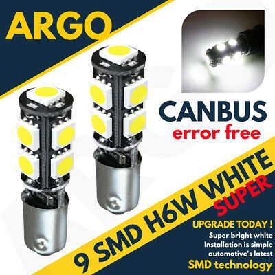 H6W 9 Led Smd Xenon Super White Sidelight Bulbs 433 434 Bax9S Error Free Canbus