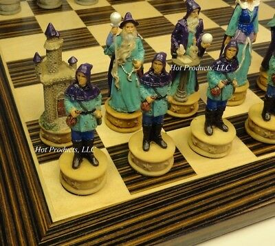 "Fantasy WIZARDS SORCERERS chess set W/ Ebony Black & Maple 14"" Wood Board"