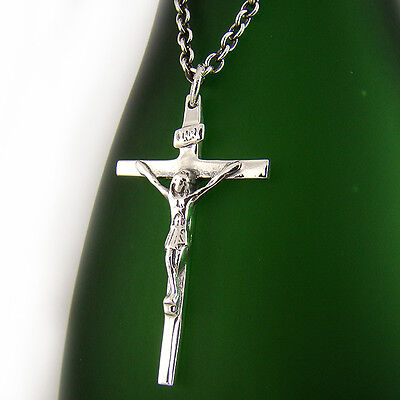 Men/'s Real Solid 925 Silver Cross Pendant Prong Set Crucifix Necklace W Chain