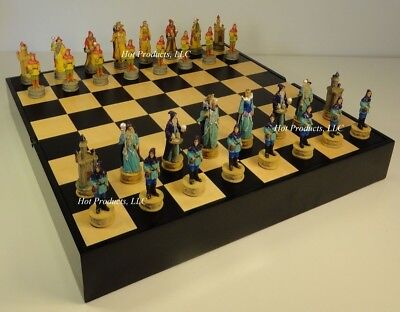 "Fantasy WIZARDS & SORCERERS Chess Set W/ 16"" BLACK & MAPLE WOOD STORAGE Board"
