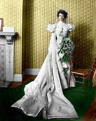 Eleanor Roosevelt Photo 8x10  Wedding Day 1905 Franklin FDR  COLORIZED