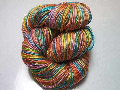 100% Pure Reeled Mulberry Finest Silk Filature Yarn 50 gr - Candy Rainbow RS001