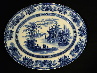 "STUNNING 19th Century ANTIQUE DOULTON FLOW BLUE ""MADRAS"" 17"" OVAL PLATTER"