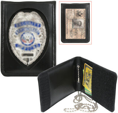 Black Leather ID Holder & Neck Chain Wallet Badge Case Law Enforcement Shield