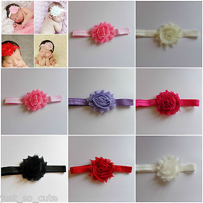 newborn -3 months baby headband with a shabby chic flower