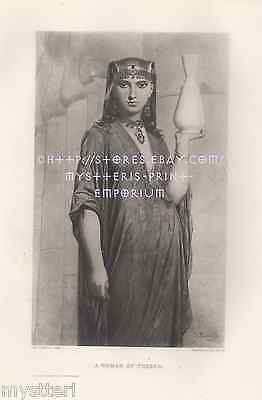 Beautiful Woman Of Thebes-Egypt-Egyptian-1883 OLD ANTIQUE VINTAGE PRINT-Picture