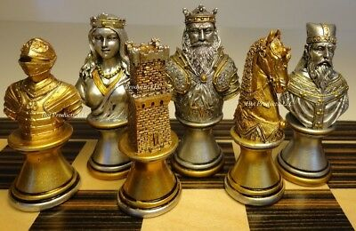 MEDIEVAL TIMES CRUSADE BUSTS chess men set Gold Silver - No Board