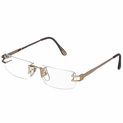 NEW But VINTAGE Old GOLD MEN'S RIMLESS EYEGLASS FRAMES SPECTACLES facet JAPAN