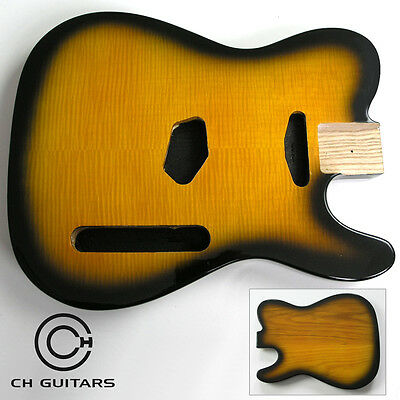 Tabacco Burst Flamed Maple Ash T-Style Guitar Body TTABACCO