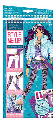 Style Me Up 623152 Zeichenblock Sketch Book (M) Rock Star Kollektion 4Schablonen