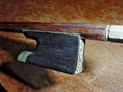 Unusual Antique Weichold Violin Bow With Frog Being Decorated In  Scrimshaw Bow