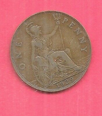 Great Britain Gb Uk Km838 1929 Xf-Super Nie Old Penny Coin Free Us Shipping